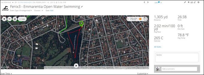 Мультиспортивный навигатор Garmin fenix 3. Плавание в открытой воде