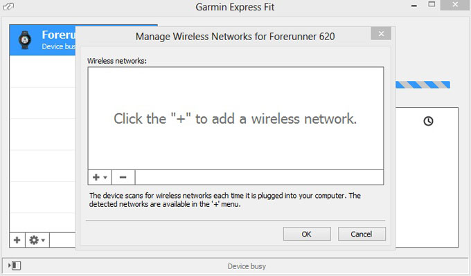 Forerunner 620 настройка wi-fi