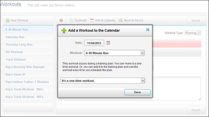 Forerunner 620 календарь тренировок