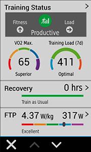 Велонавігатор Edge 1030. Показник Training Status