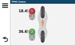 Мотонавигатор zumo 595LM. Контроль давления в шинах
